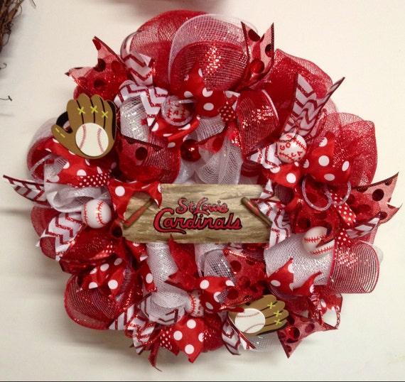 st louis cardinals wreath st louis cardinals decor stl. Black Bedroom Furniture Sets. Home Design Ideas