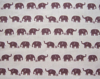 """Half Meter, Cotton Canvas Fabric, Light Brown, Elephant Printed, 114 cm. by 50 cm. (45"""" by 19.5""""), Ready to Ship."""