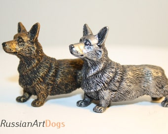Miniature statue  Welsh corgi pembroke dog figurine from the alloy of tin pewter
