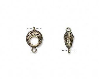 Antiqued brass link, puffed filigree link, Steampunk, 7mm, 5 each D528