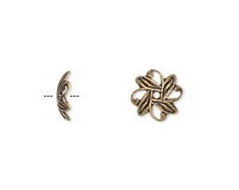 Brass Bead cap, antiqued gold-plated brass, filigree bead cap, 10x3mm leaf, 20 each, D314