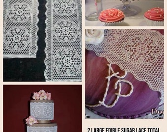 2 x EDIBLE SUGAR LACES For Cakes/Cupcakes/Cookies