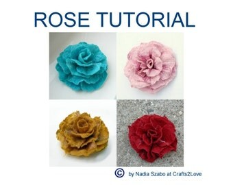 Felt Tutorial Rose, pattern, felted wool flower, wet felt, how to felt by hand, felted flower brooch, pdf, e-book instructions in English