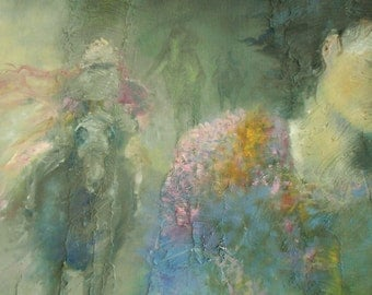 Original abstract oil and mixed media painting dark dream horseman girl