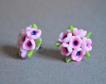 Stud  Earrings Handmade Jewelry Gift idea for her Polymer clay Pink studs earrings Floral Stud earrings romantic Jewelry Hand modeling