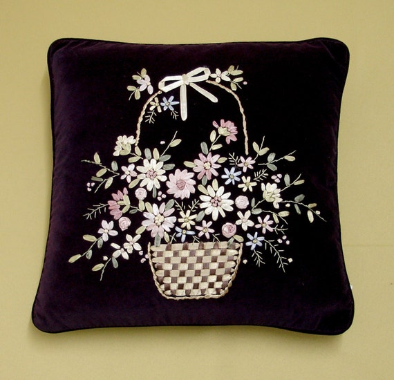 Amethyst deep purple ribbon embroidery cushion cover cu
