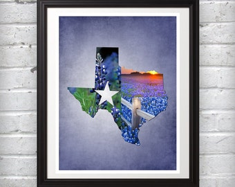 State of Texas Print Featuring Texas Bluebonnets