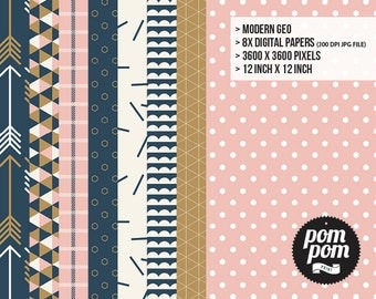 Modern Geo Digital Paper Set - INSTANT DOWNLOAD