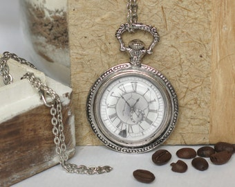necklace ...unoriented... hand drawn, pencil drawing, pocket watch, cabochon, antique silver