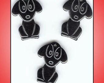 3 Puppy Dog Hematite Charms