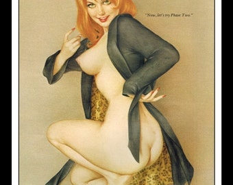 """Vargas Playboy Pinup Girl Vintage February 1972 """"Phase Two"""" Sexy Redhead Nude Mature Wall Art Deco Print"""
