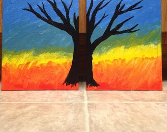 two canvas panel tree silhouette acrylic unframed paintings