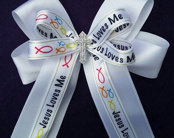 Jesus Loves Me, Christian, white tails down hair bow