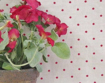Robert Allen Woven Brick Red Polka Dot Fabric