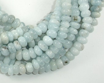Genuine Aquamarine Bead Rondelle 5x8mm - 16 Inch, One strand, Approx 90 beads, Hole 1mm (123053007)