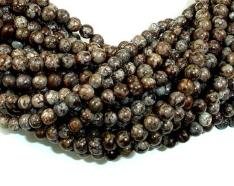 Brown Snowflake Obsidian Beads, Round, 4mm (4.5 mm), 15.5 Inch, Full strand, Approx 94 beads, Hole 0.8 mm (193054004)