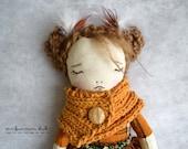 OOAK Art Handmade Fabric Doll - Nuala the Owl No.3 Forest friends series