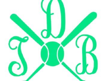 Vine Monogram Iron On, Heat Transfer Monogram, Iron on Letters, DIY Monogram T shirt, ball monogram,ball and bat monogram