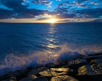 art print, wall decor, sunset photography, home decor, fine art, beach pictures, ocean, blue, romantic, waves, evening, beach decor, sunset