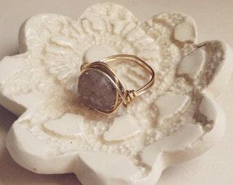 Wire Wrapped Grey Druzy Stone Ring