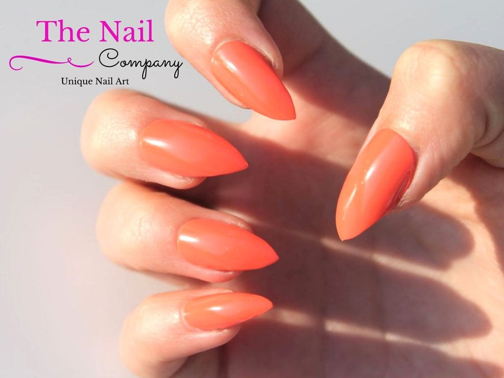 coral orange false nails glossy handpainted fake nails