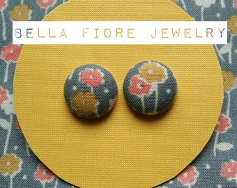 Coral/Mustard/Gray Floral button earrings