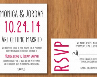 Dotted & Elegant Wedding Invitation // Printable, DIY Wedding, Wedding Invitation, Custom Invitation