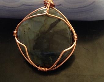 Labradorite copper wire wrapped pendant
