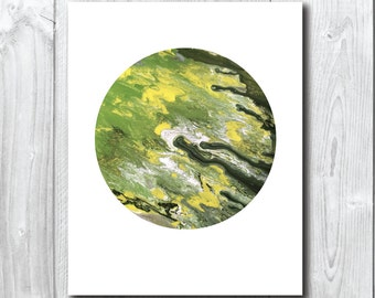 Green Moon/Planet Art Print A5, 20x25cm, A3