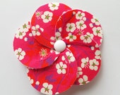 Brooch-flower liberty mitsi pink/red