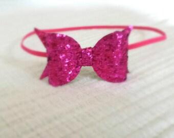 Pink bow headband. Pink glitter bow headband. Pink headband, Infant headband. Bow headband. Toddler Accessories. Spring headband