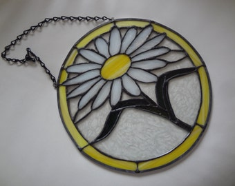 """12"""" Round Suncatcher/Yellow, Green, and White Daisy Design/Black Solder and Chain for Easy Hanging/Opaque and Clear Glass"""