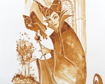 Maleficient 1959 coffee painting