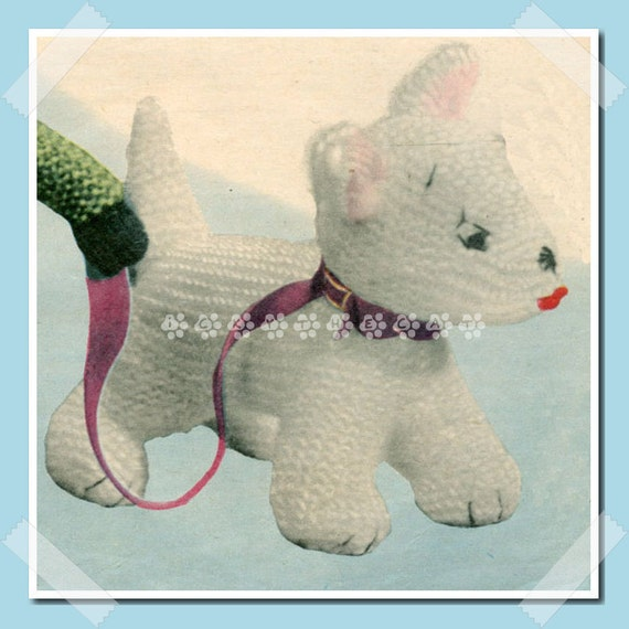 Knitting Pattern For Westie Dog : Vintage 1957 Knitting Pattern to make a Sweet Little by ...