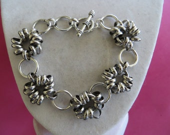 Floating Silver Circles Toggle BRACELET Pretty As Brighton