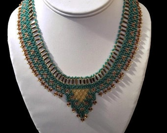 Stunning Beaded Cleopatra Style Necklace