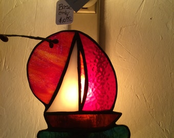 Sailboat Stained Glass Night Light
