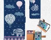Elephant Balloon iPhone/smartphone flip PU leather Wallet case  iPhone 6, 6 plus, 5, 5s, 5c, 4, 4s,  Sony Z3, Z4, LG G3, Vigor, Samsung