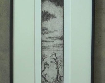 Travelers at Dusk.  Original drypoint framed and ready to hang.