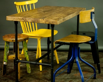 Industrial cafe table with timber tops and pipe legs