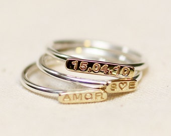 name ring stackable, thin silver ring, date ring, custom ring, personalized ring, engraved ring, word ring, love ring stackable, cute ring