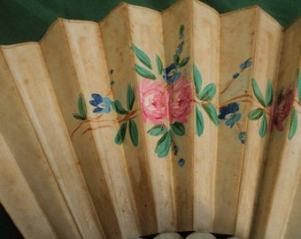 Antique hand painted fan with flowers