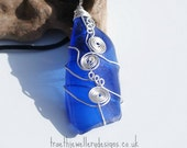 Blue Hand Wired Sea Glass Pendent