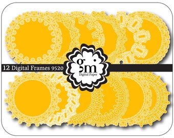 Digital frames, Circle Frame Clipart, Circle Clipart, Amber Yellow Circle, Round Frame, Digital Frames and Borders, Instant Download