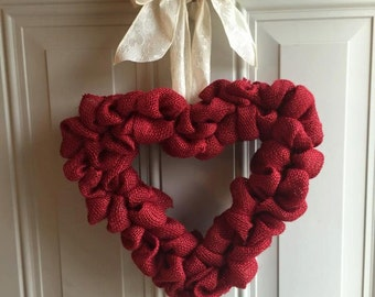 Red heart burlap wreath/ valentines day wreath/everyday wreath/red wreath/ love wreath