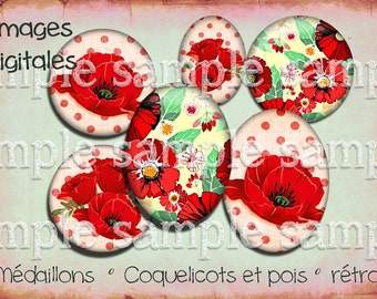 "Retro digital image ""Poppy"" poppies flower pea red vintage cabochon"