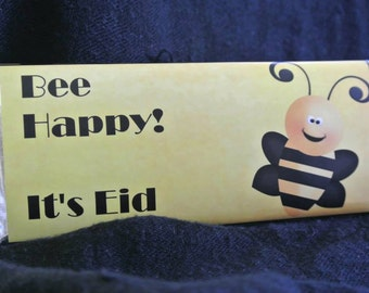 Bee party favors, Bee Happy, Bee Favors, Bee Birthday party, candy wrap, Bee Shower, Honey Bee, personalized candy wrappers, 24 ct.