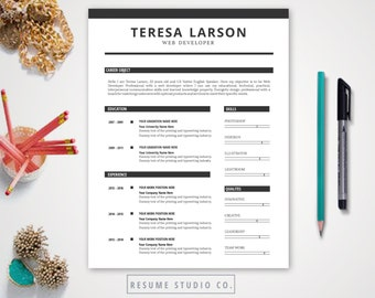 Resume Template + Two Page Template | Cover Letter,  | Microsoft Word | Mac + PC | Instant Download | TERESA