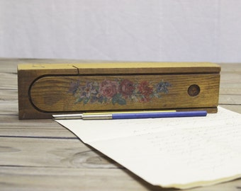 Handpainted Floral Plumier or Pencil Box from France