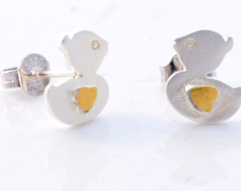 Sterling Silver Cute Duckling Duck Stud Earrings with Gold Plating